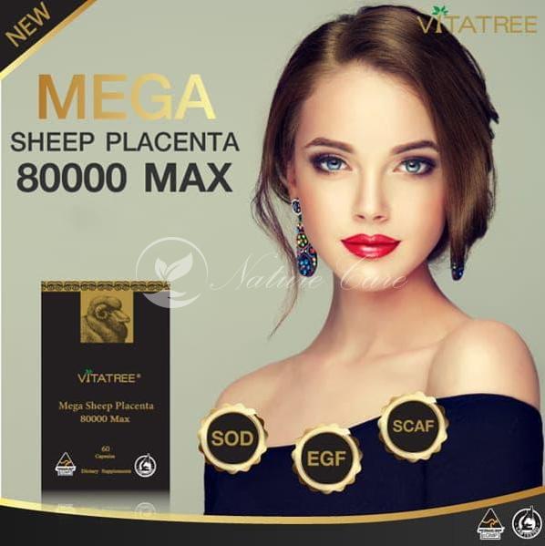 NHAU THAI CỪU HÀM LƯỢNG CAO VITATREE MEGA SHEEP PLACENTA 80000 MAX 60 viên