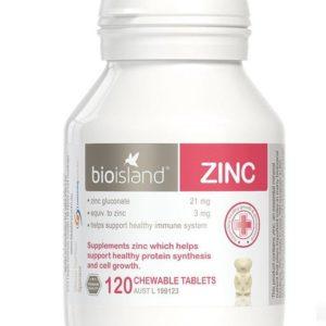 Viên Nhai Bổ Sung Kẽm Cho Trẻ Bio Island Zin C 120 Tablets