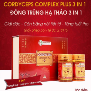 Viên Uống Đông Trùng Hạ Thảo Tăng Cường Sức Khỏe, Đề Kháng, Đẹp Da Bổ Gan-Golden Health Cordyceps Complax Plus 3in 1 -2x 30 Viên