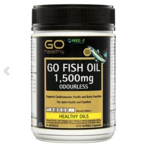 Viên Uống Dầu Cá Bổ Mắt- Bổ Tim Mạch-GO Healthy Fish Oil 1500mg Odourless 210 Capsules