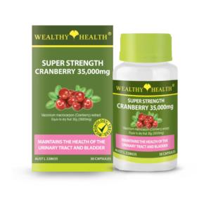 Viên Uống Hỗ Trợ Kháng Viêm Đường Tiết Niệu Siêu Mạnh Wealthy Health Super Strength Cranberry 35000mg -30 Viên