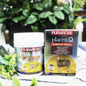 Viên Uống Nhau Thai Cừu, Q10,Tinh Dầu Hạt Nho,Tinh dầu Hoa Anh Thảo và Mầm Đậu Nành- Purarose Placen Q 3000mg 60 Viên