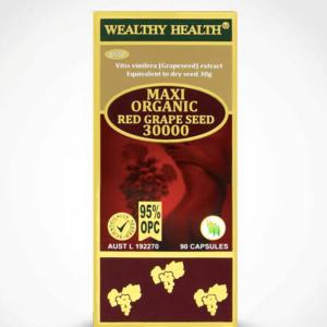 Viên Uống Tinh Chất Hạt Nho Đỏ Hữu Cơ-95% OPC Wealthy Health Red Grape Seed 30000-60 Viên