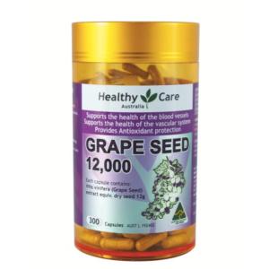 Viên Uống Tinh Chất Hạt Nho Hỗ Trợ Hệ Thống mạch Máu Chống Lão Hóa-Healthy Care Grape Seed Extract 12000 Gold Jar 300 Capsules