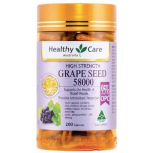 Viên Uống Tinh Chất Hạt Nho Hỗ Trợ Hệ Thống mạch Máu Chống Lão Hóa-Healthy Care Grape Seed Extract 58000 Gold Jar 200 Capsules