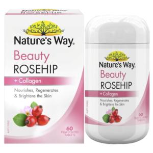 Viên uống dưỡng da Collagen và tinh dầu tầm xuân Nature's Way Beauty Rosehip & Collagen 60 viên