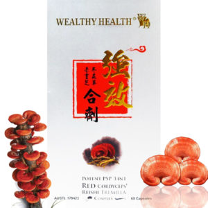 Wealthy Health Red Reishi 3 in 1 , 70 Capsules Nấm Linh Chi-Đông Trùng- Nấm Mộc