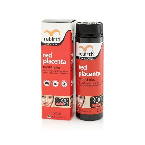 Viên Trị Nám, Vết Thâm Nhau Thai Cừu Đỏ Rebirth Black Label Red Placenta Natural Plus 3000mg 55 viên